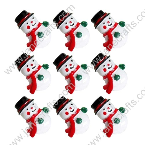 40pcs Cute Resin Winter Snowman Black Hat Red Scarf Flat back Hair Bow Center Crafts Making