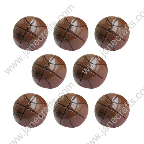 40pcs Sport series Small Resin Brown Basketball Flat back Scrapbooking Hair Bows Center Crafts DIY