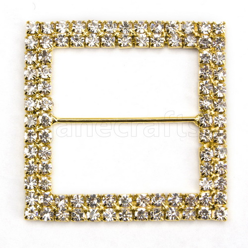 X25 50mm Gold Color Square Rhinestone Buckle Invitation Ribbon Slider For Wedding Supply