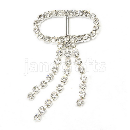 18mm 50pcs Rhinestone Buckle Invitation Ribbon Slider For Wedding Supply Silver Color