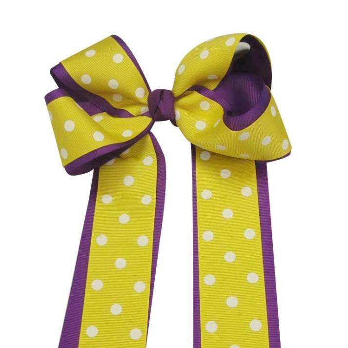 "12PCS Wholesale Lots 6"" Polka Dot Over the Top/Long Tail Cheer Bow/LSU Cheerleading-Purple /Yellow"