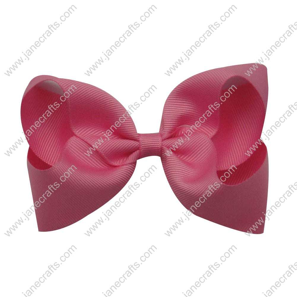 "4"" Solid Grosgrain Boutique Bow Clips 12pcs-Hot Pink"