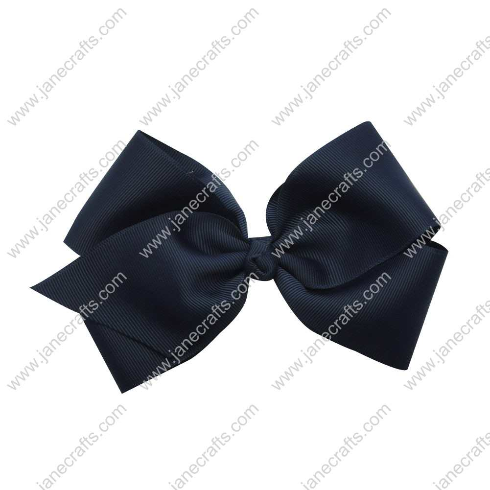 "Large 6"" Grosgrain Boutique Chunky Bow Clips 12pcs Wholesale-Navy"