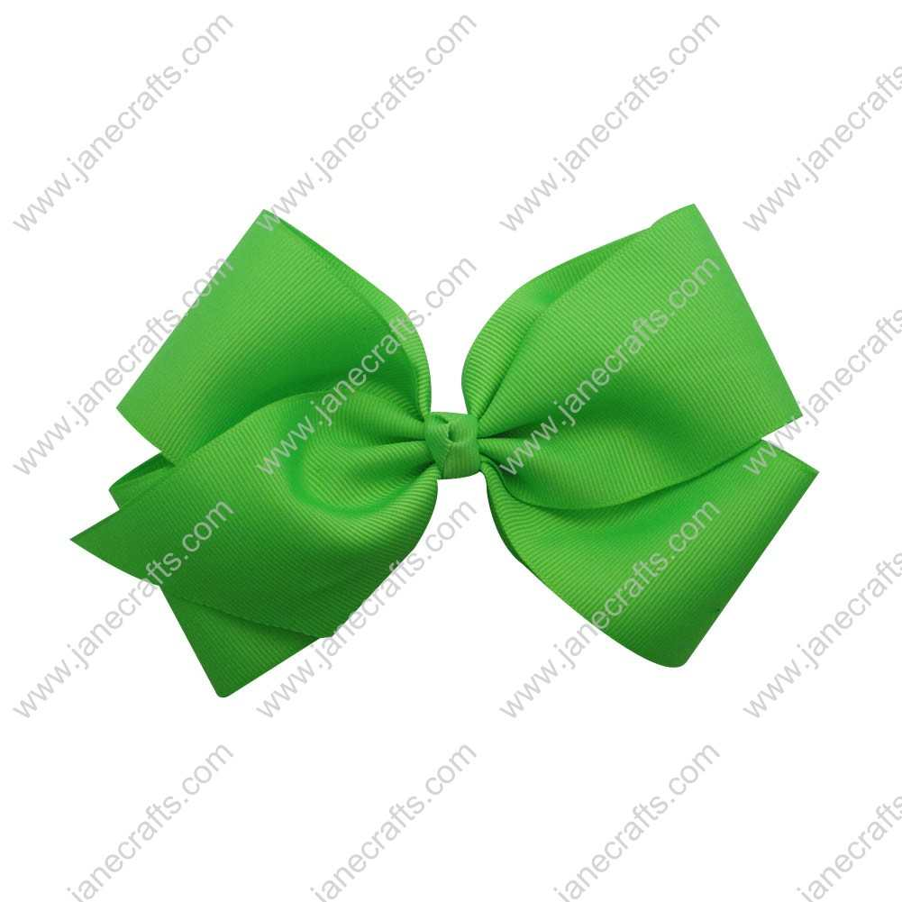 "Large 6"" Grosgrain Boutique Chunky Bow Clips 12pcs Wholesale-Acid Green"