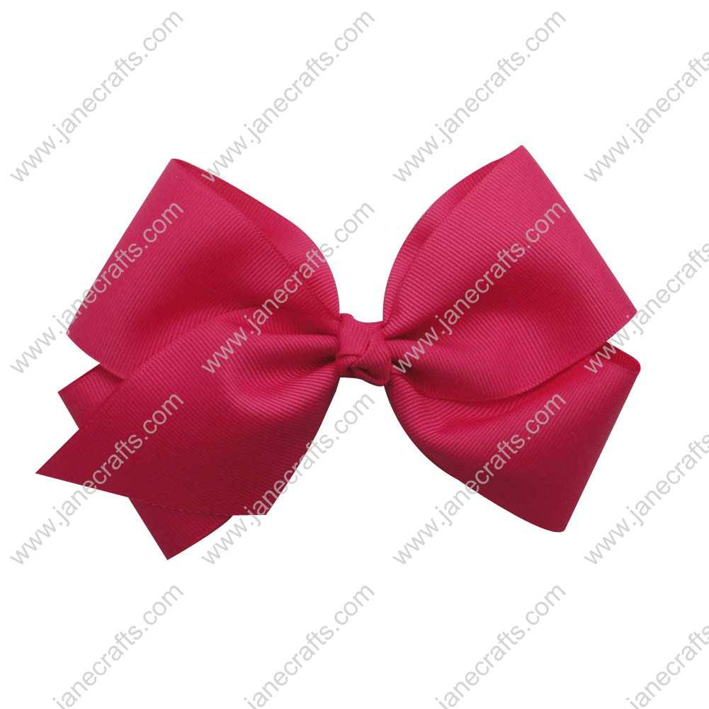 "Large 6"" Grosgrain Boutique Chunky Bow Clips 12pcs Wholesale-Shocking Pink"
