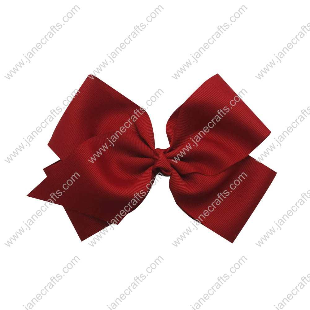 "Large 6"" Grosgrain Boutique Chunky Bow Clips 12pcs Wholesale-Red"