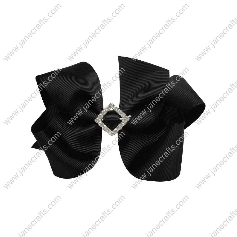 "12pcs 4"" Bling Chunky Bows with Rhinestone Slider Center-Black"