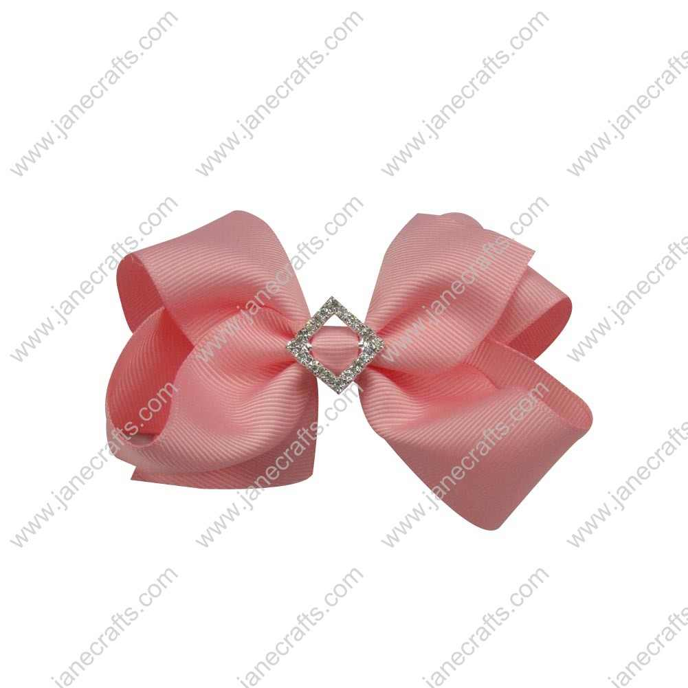 "12pcs 4"" Bling Chunky Bows with Rhinestone Slider Center-Pink"