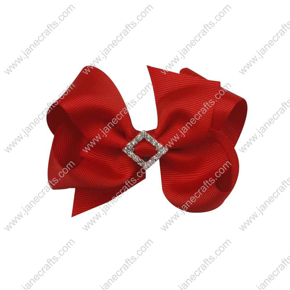 "12pcs 4"" Bling Chunky Bows with Rhinestone Slider Center-Red"