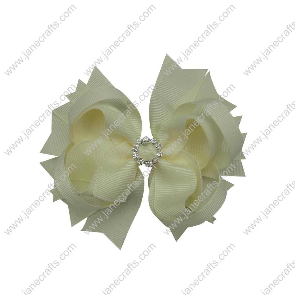 "12pcs 4.5"" Bling Spike Bows with Rhinestone Slider Center-Cream"