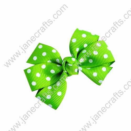 "3"" Polka Dot Boutique Bows Christmas Green 12pcs Wholesale"