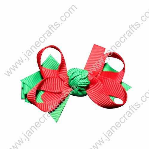 "2"" Loop Boutique Hair Bows Christmas Red and Green 12pcs Wholesale"