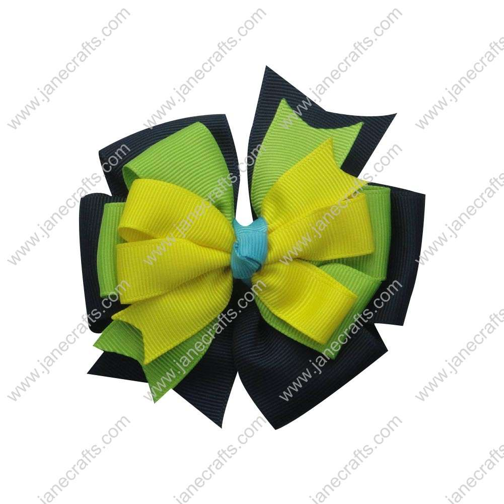 "12PCS Wholesale Lots 4"" Triple Layer Pinwheel Stacked HairBow Clips-Lemon/Lime/Navy Blue"