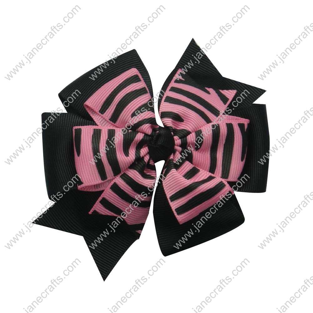 "12PCS Wholesale Lots 4"" Zebra Double Layered Pinwheel Baby HairBow Clips-Black/Hot Pink"