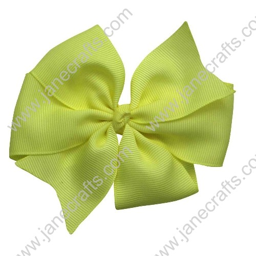 "30PCS 4"" Wholesale Lots Solid Grosgrain Bright Summer Pinwheel Hairbow in Maize Yellow"
