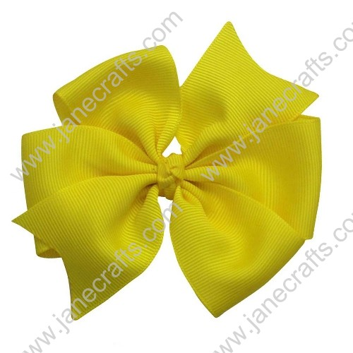 "30PCS 4"" Wholesale Lots Solid Grosgrain Bright Summer Pinwheel Hairbow in Yellow"