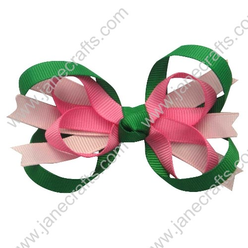 "3.5"" Sweet Baby Girl Hair Accessories in Lt Pink Shocking Pink Green Wholesale 12PCS"