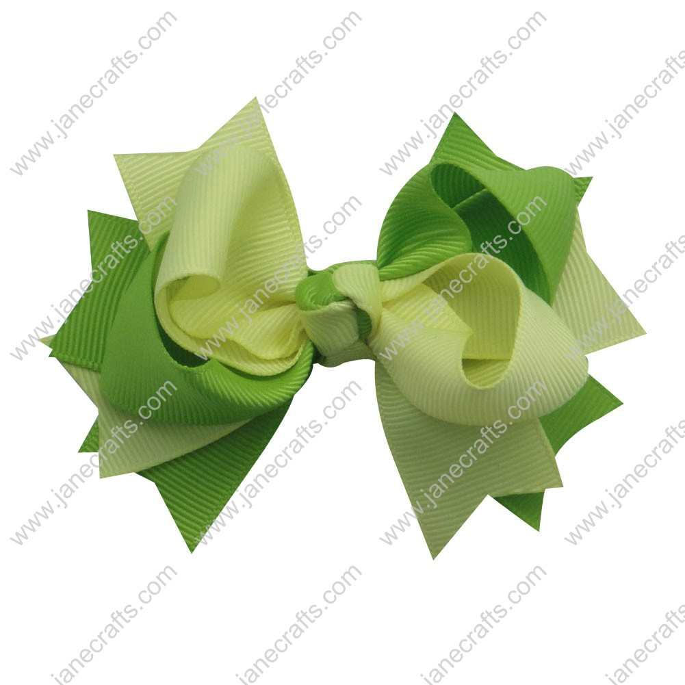 "12pcs 3"" Wide Two Tone Grosgrain Spike Bow-Baby Maize/Apple Green"