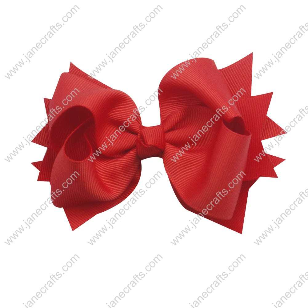 "12pcs 4.5"" Classic Solid Grosgrain Spike Bow Clips-Red"