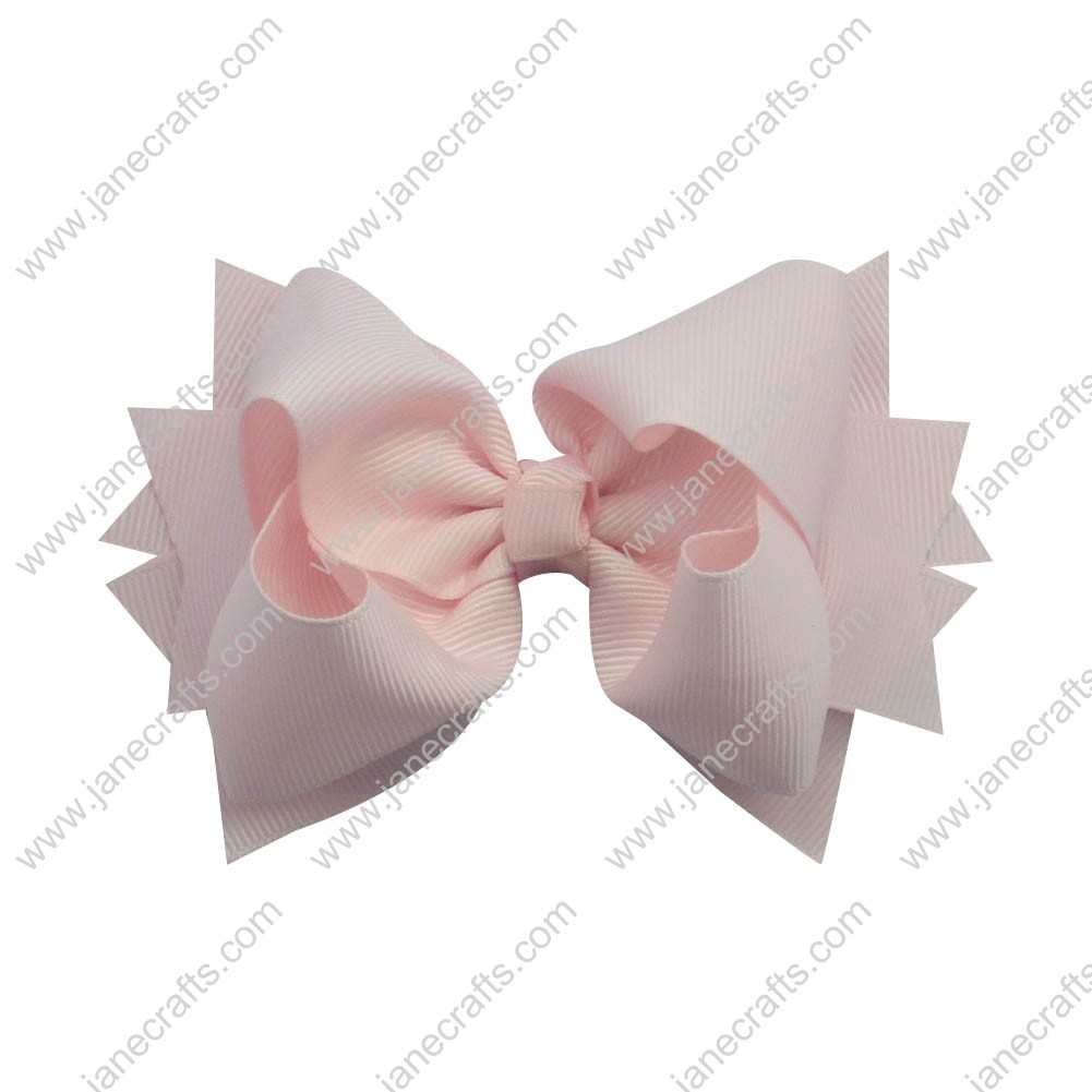 "12pcs 4.5"" Classic Solid Grosgrain Spike Bow Clips-Lt Pink"