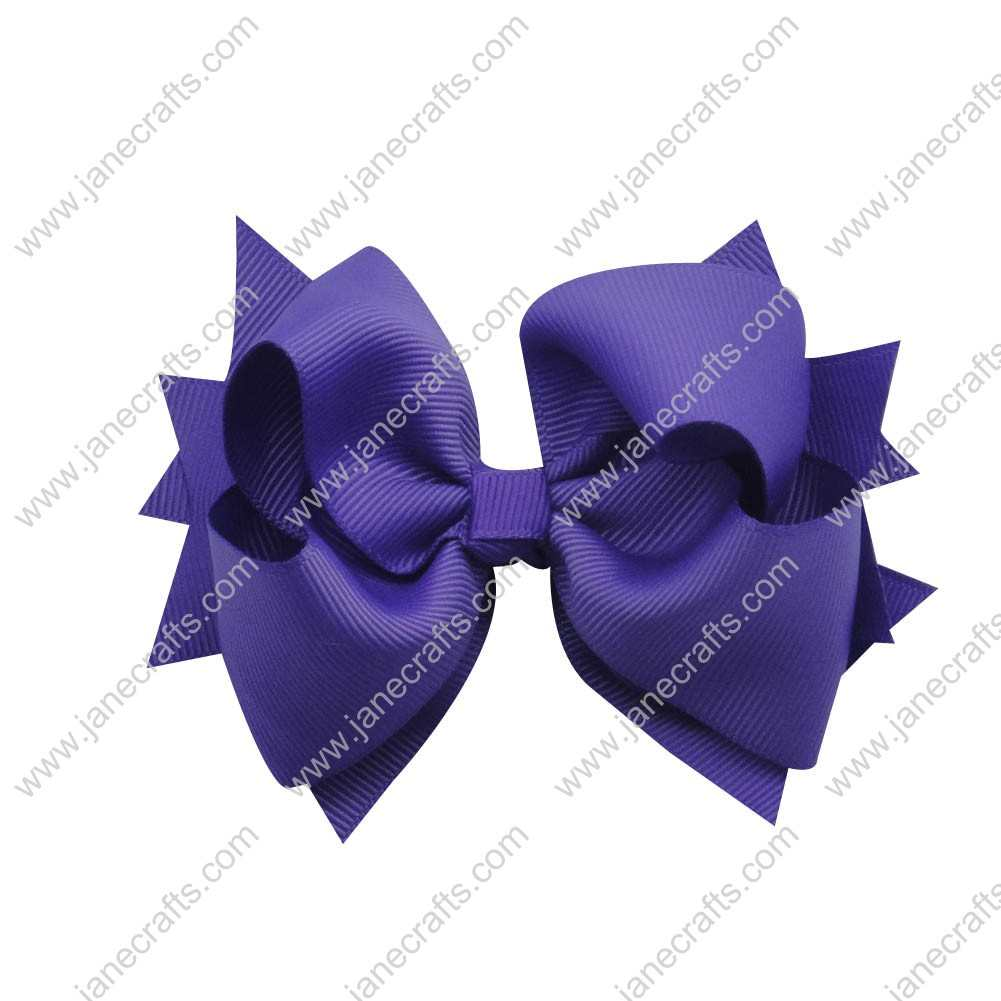 "12pcs 4.5"" Classic Solid Grosgrain Spike Bow Clips-Purple"