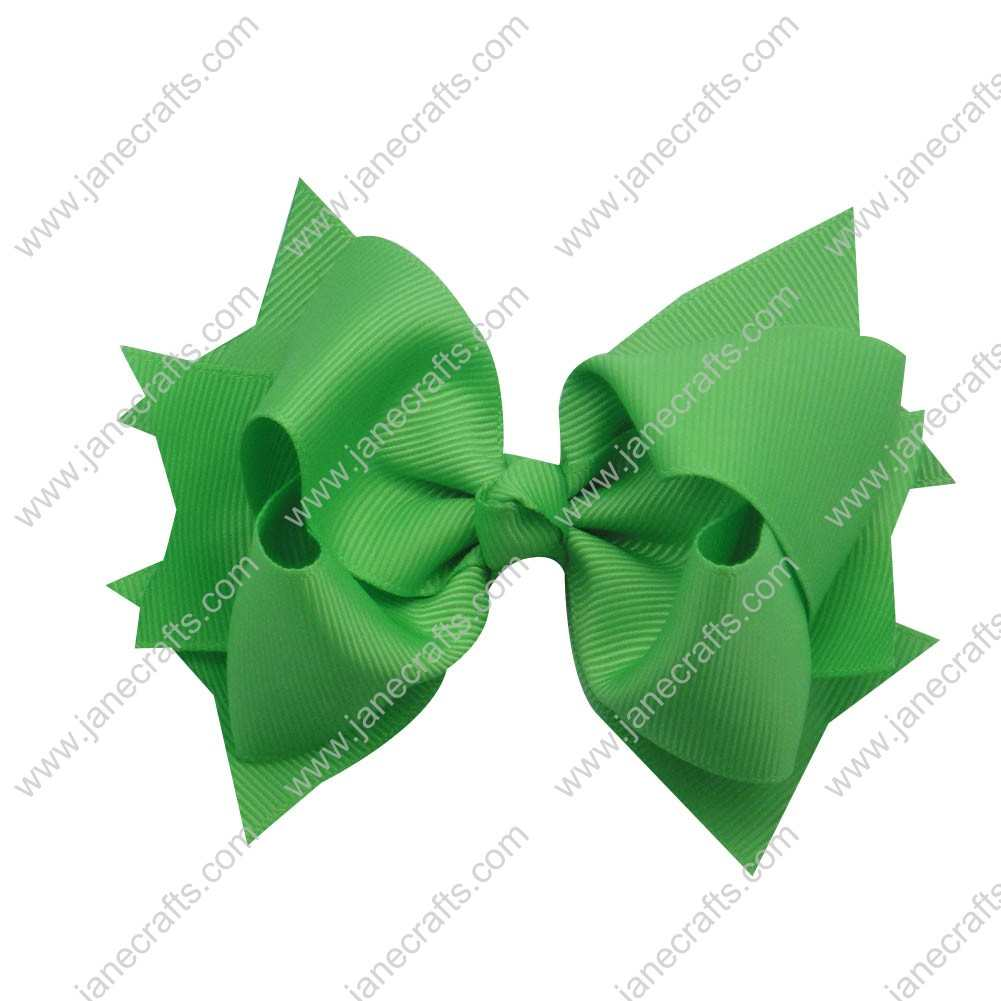 "12pcs 4.5"" Classic Solid Grosgrain Spike Bow Clips-Acid Green"