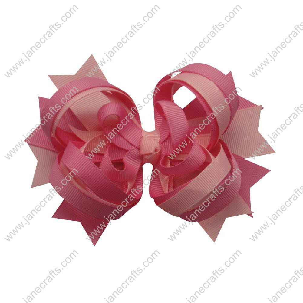 "4.5"" Loopy Spike Bow Clips 12pcs Wholesale-Lt Pink/Hot Pink"