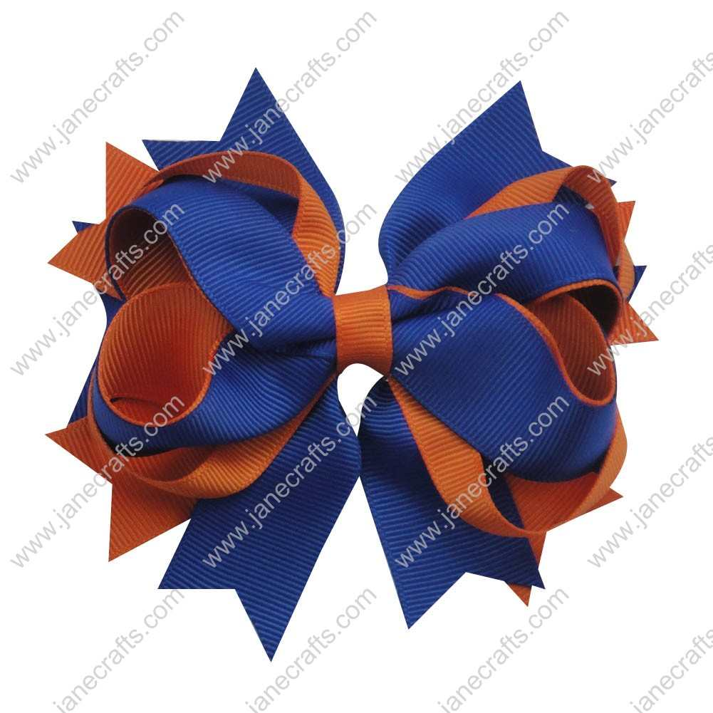 "12pcs wholesale 5"" Layered Grosgrain Spike Bow Clips-Roayl/Tangerine"