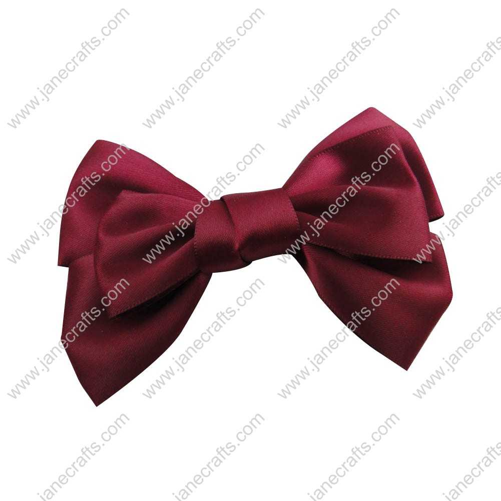 "4"" Satin Hair Bow Clips for girl 24pcs Wholesale-Wine"
