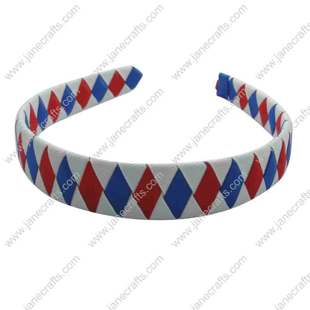 12pcs Ribbon Covered Woven Dimand Plastic Headband 20mm Wide