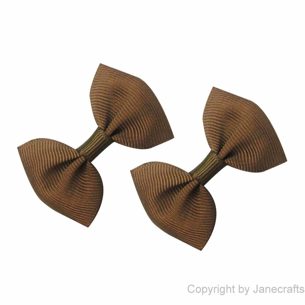 "2"" Small Grosgrain Bowtie Bow in Brown-30pcs"