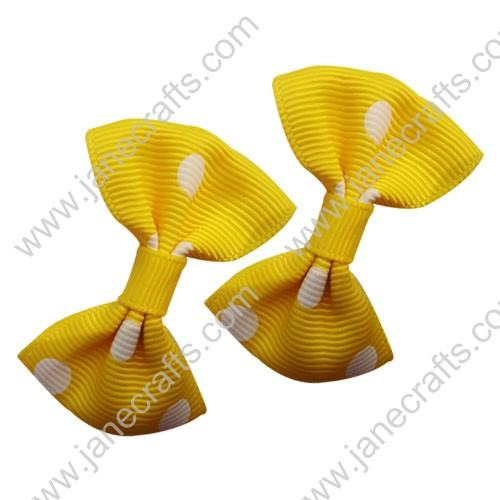 "2"" Polka Dot Grosgrain Bowtie Bow Yellow with White Dot-30pcs"
