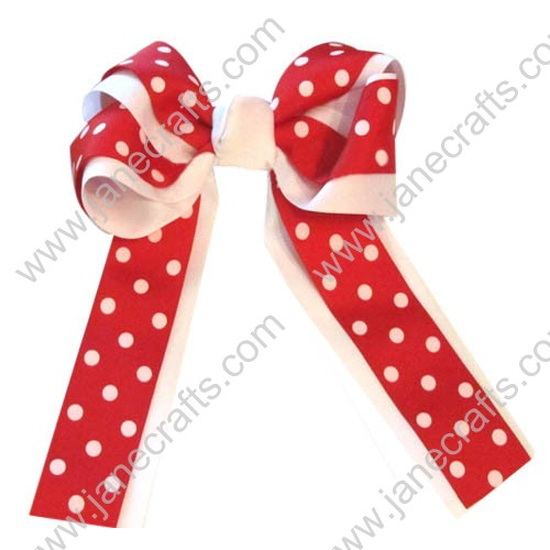 "12PCS Polka Dot Wholesale Lots 6"" Layered Over the Top/Long Tail Cheer Hair bow/Cheerleading-White/Red"