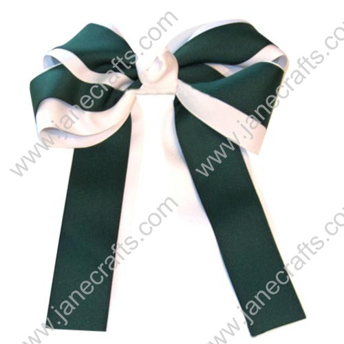 "12PCS Wholesale Lots 6"" Layered Over the Top/Long Tail Cheer Hair bow/Cheerleading-Green/White"
