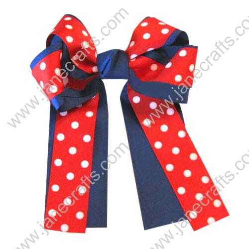 "12PCS Wholesale Lots 6"" Polka Dot Over the Top/Long Tail Cheer Bow/Houston Texans Cheerleading-Deep Blue/Red"