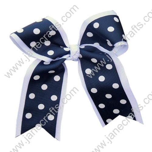 "12PCS Wholesale Lots 6"" Polka Dot Layered Over the Top Cheer Bow/Cheerleading-Navy Blue/White"