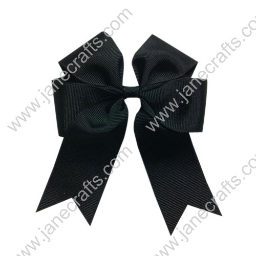 "12PCS Wholesale Lots 4"" Tails Down Solid Grosgrain Cheer Bow/Cheerleading in Black"