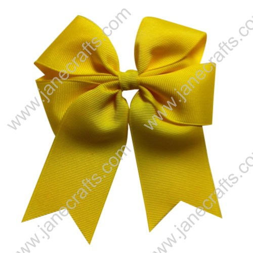 "12PCS Wholesale Lots 4"" Tails Down Solid Grosgrain Cheer Bow/Cheerleading in Yellow"