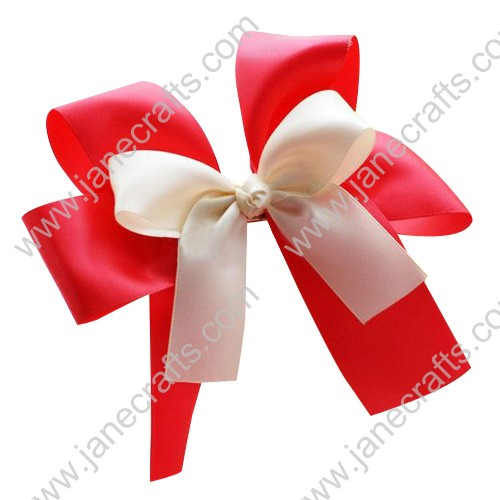 12PCS Wholesale Lots 4  Double Layers satin Cheer Hair Bow with Tail in Red/Antique White