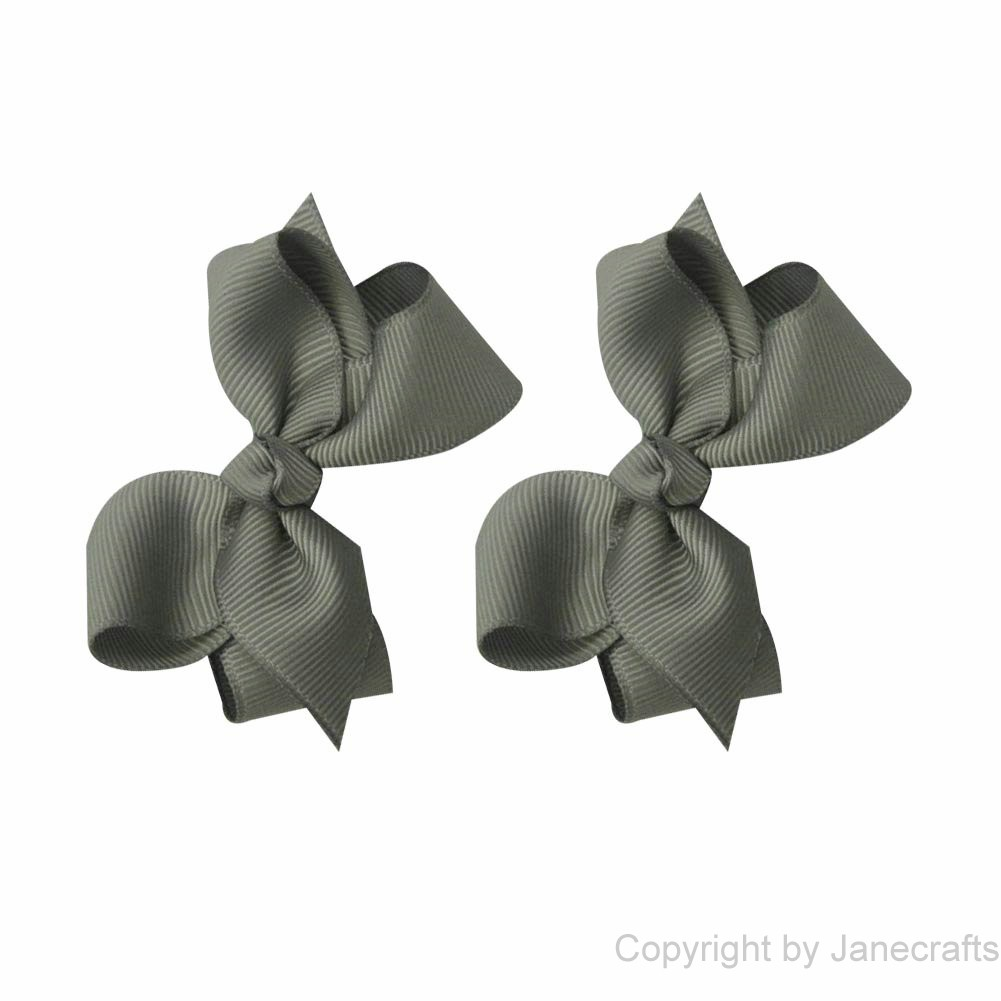 "2.5"" Solid Grosgrain Chunky Hair Bow in Grey Silver- 12pcs"