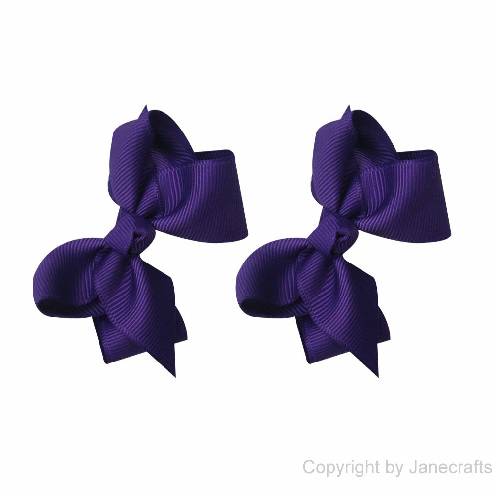 "2.5"" Solid Grosgrain Chunky Hair Bow in Purple- 12pcs"