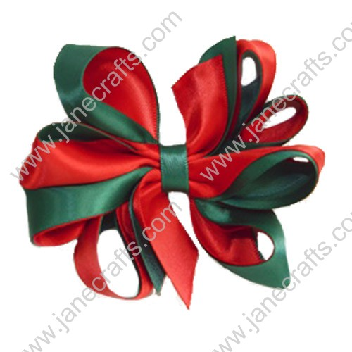 "Deluxe 4"" Two Color Holiday Hair Bows Red and Green 12pcs"