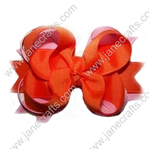 "4"" Three Layered Grosgrain Orange/Pink Twisted Hair Bow Clips by dozen"