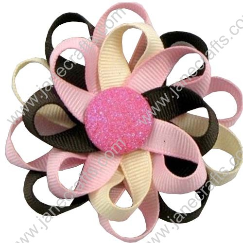 "3"" 12 PCS Girl's Flower Loop Hair Bow-Pink/Brown/Ivory"