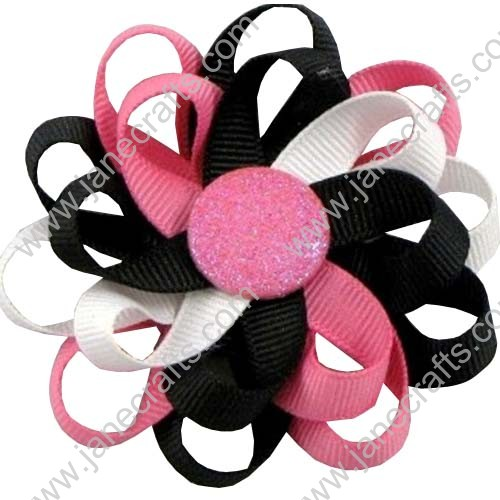 "3"" 12 PCS Girl's Flower Loop Hair Bow-Hot Pink/Black/White"