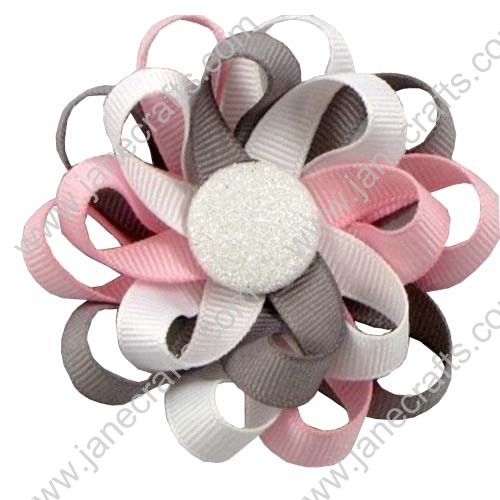 "3"" 12 PCS Girl's Flower Loop Hair Bow-Pink/Grey/White"