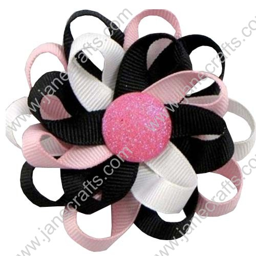 "3"" 12 PCS Girl's Flower Loop Hair Bow-Black/Pink/White"