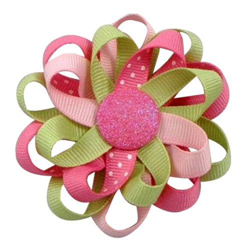 "3"" 12 PCS Girl's Flower Loop Hair Bow-Pink/Hot Pink/light green"