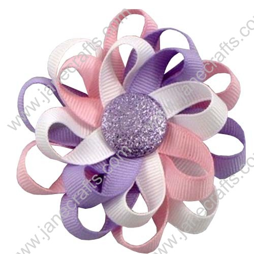 "3"" 12 PCS Girl's Flower Loop Hair Bow-Pink/lavender/white"