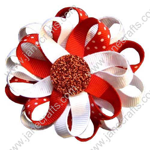 "3"" 12 PCS Girl's Flower Loop Hair Bow-White/Red"